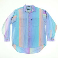 Nicely Faded Vtg Colours Shirt Mens LARGE Sun Washed Sleeve Beach Surf Hippie
