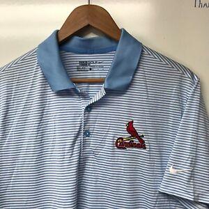St. Louis Cardinals Men Large Nike Dri-Fit Polo Golf Shirt Blue & White Stripe L