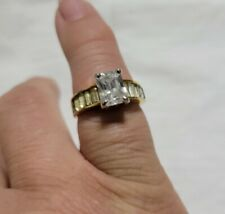 Stone Jewelry Metal Band Wedding Ring Cubic Zirconia Engagement Square
