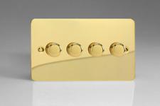 VARILIGHT V-pro Ultra Flat Polished Brass 4 Gang LED Trailing Edge Dimmer Switch 1 or 2 Way