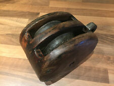 Vintage Ships Wood Double Pulley Block Maritime Marine Nautical Boat