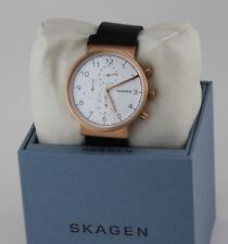 NEW AUTHENTIC SKAGEN ANCHER ROSE GOLD CHRONO BLACK LEATHER MEN'S SKW6371 WATCH