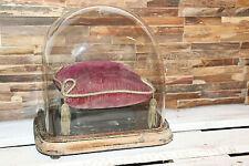 globe ovale ancien de mariée en verre, dôme, hauteur 30 cm et son coussin