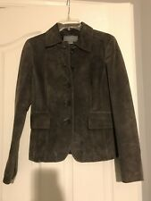 Ladies ANN TAYLOR Brown Suede Leather 5 Button Jacket Flap Pockets Size 2 lined