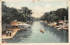 VTG 1912 POSTCARD CANOE BOATS FOR RENT BLUE RIVER KANSAS CITY MISSOURI MO B18
