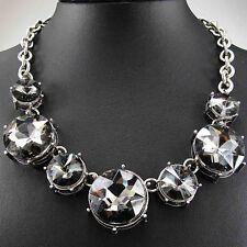 Woman pendant Crystal Black Glass Bib Big Statement charm chunky Chain Necklace