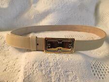 Escada Women Belt Silver And Goldtone Buckle With Beige Cream Belt 40