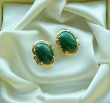 14K YELLOW GOLD GREEN MALACHITE EARRINGS 16 X 12 MM