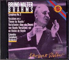BRUNO WALTER BRAHMS Symphony No. 3 HAYDN VARIATIONS COLUMBIA CBS CD MADE IN JAPAN
