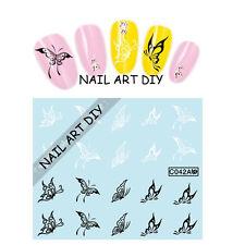 20 Stickers-Decals Nail Art water transfer-tattoo Adesivi FARFALLE bianche/nere!