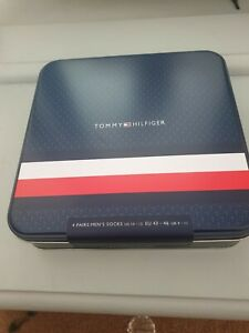 Tommy Hilfiger Mens Socks Gift 4 Pack Gift Tin Size UK 9-11 Christmas gift