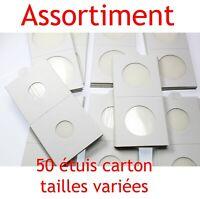 Assortiment de 50 étuis carton autocollants pour pièces de monnaie en Franc