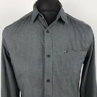 Tommy Hilfiger Mens Casual Shirt SMALL Long Sleeve Grey Regular Fit  Cotton