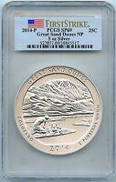 2014-P Sand Dunes Park, 5oz Silver Quarter, PCGS SP-69 First Strike, Mint Box!