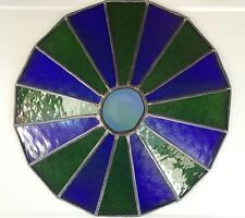 Antique TEXTURED STAINED GLASS Lamp Shade VTG Arts & Crafts PENDANT Lighting