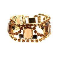 "Vintage Crystal Chunky Link Bracelet Gold Tone 1"" x 7"""