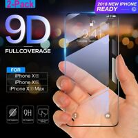 2x 9D Curved Screen Protector For iPhone XS Max / XR / XS / X Tempered Glass Lot