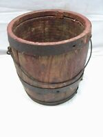 Antique Iron Banded Cooper Made Wooden Keg/Barrel Paint Bucket Farm Tool Wood