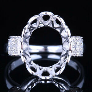 Sterling Silver 925 Natural Diamond Wedding Semi mount Fine Ring Oval 14x10mm