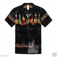 Aloha Shirt Cruise Tropical Luau Beach Hawaiian Party Black Local Beer Bottles