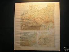 Antique Landkarte map Deutsches reich 1880 bodengestalt