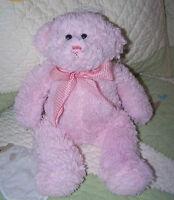 "Circo Target Teddy Bear Pink Fluffy Plush Stuffed Toy 12"" VGUC w Gingham Bow"