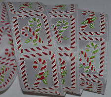 Wired Ribbon~Christmas Candy Cane~Holiday Red Peppermint Stripe~Wreath~Gift~Bow