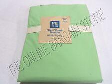 Pottery Barn Teen PBT Classic Sheets Set QUEEN Bed Dorm Pale Green 5% Organic