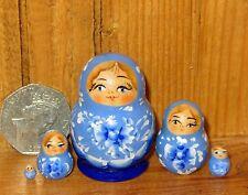 Russian Nesting doll Matryoshka 5 hand painted tiny Light Dark BLUE MINIATURE