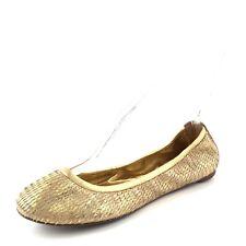 Tory Burch Eddie Gold Leather Ballet Flats Women's Size 7 M $198*