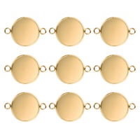 20Pcs Gold Stainless Steel Blank Base Setting Pendants Trays Jewelry DIY Making