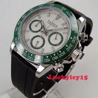 39mm PARNIS white dial green bezel sapphire glass Full Chronograph men's watch