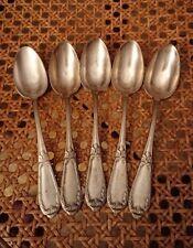 5 petites cuillères à café en métal argenté  :  14,7 cm poinçon poignée de mains