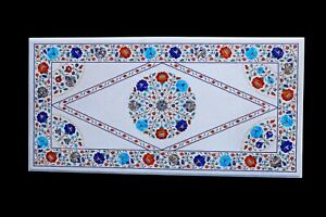 Marble Inlay table Top Inlaid With Semi-Precious Gems Stone For center table
