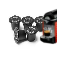 6PCS Reusable Nespresso Coffee Capsules Cup With Spoon Brush Black Refillable.