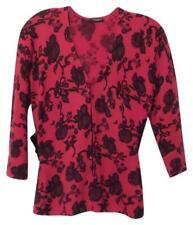 MAGACHONI Cashmere Red & Black Print Cardigan with Silk Sash Size L