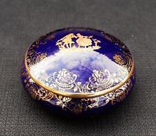 Vntg LIMOGES Veritable d'ART FRANCE Bone China Gold Cobal Blue Round Trinket Box