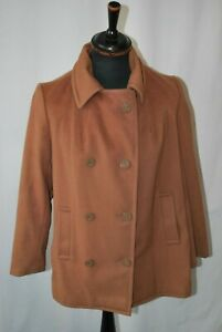 Vintage J.G Hook beige Military Navy pea coat in size 14 workers union USA made