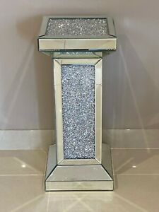 Mirrored Crushed Crystal Diamond Column Pedestal Table End Table Lamp Table