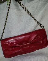 HOBO INTERNATIONAL Raspberry BOW FRONT Convertible Clutch Bag VINTAGE Leather