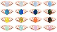 14k Rose Gold Plated Australian Fire Opal Infinity Celtic Silver Birthstone Ring