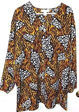 Impressions Woman's Long Sleeve Safari Print Cute Buttons Size 18W V-Neck