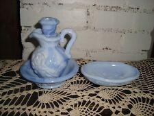 Vintage Avon Blue Milk Glass Pitcher, Bowl And Soap Dish