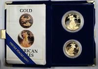1987 US Eagle Gold Bullion One Ounce & Half Ounce Coins Proof W/ Box & COA set