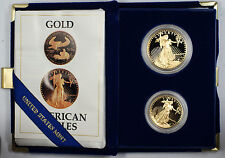 1987 US Eagle Gold Bullion One Ounce & Half Ounce Coins Proof W/ Box & COA set