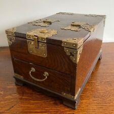 More details for rare antique oriental wooden brass bound geisha girl travel mirror vanity box