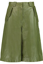 "$1850 Authentic ACNE STUDIOS Olive ""HUNTER PAPER* LEATHER Shorts F-34 W-28"""