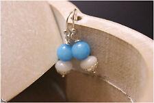 Light Blue & White Jade Gemstone Sterling Silver Drop Bead Earrings