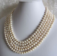 Genuine 7-8mm AA Natural White Freshwater cultured Pearl Necklace 100 inches