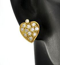 Vintage 18K Solid Diamond Full Pave-set Solid Heart Motif Ageless Stud Earrings